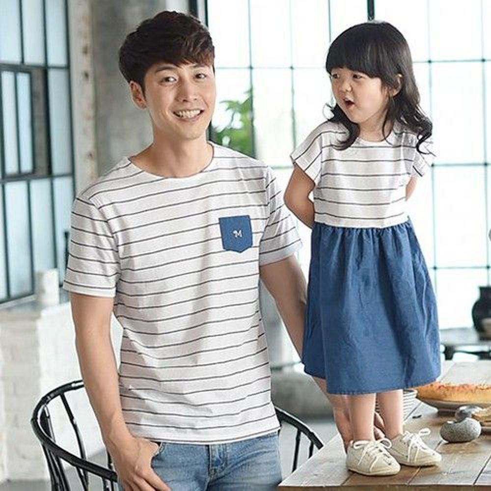 韓國 Monfimafi - 單寧條紋親子裝-爸比T恤