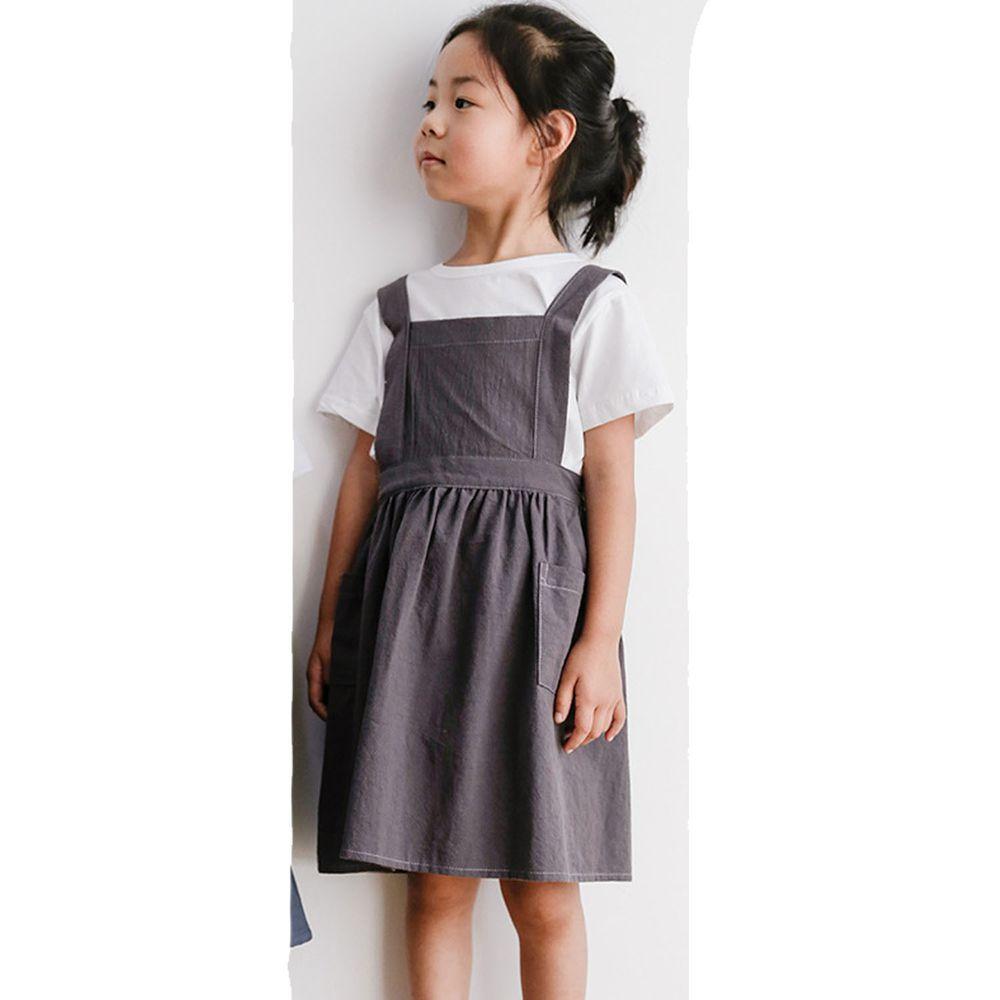 北歐文藝棉麻百褶圍裙-兒童款-深灰色