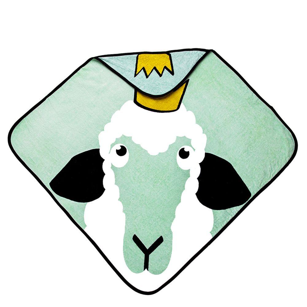 Babylivia - 有機棉連帽浴巾-綿羊-海綠色