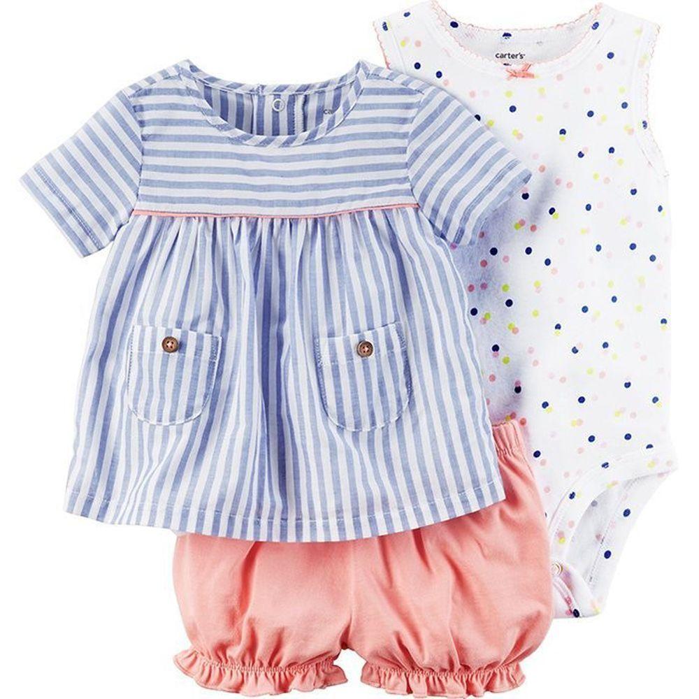 美國 Carter's - 嬰幼兒短褲套裝三件組-七彩點點 (12M)