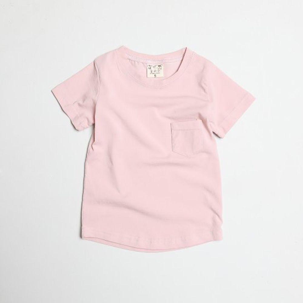 韓國製 - 水洗加工布口袋T-粉紅