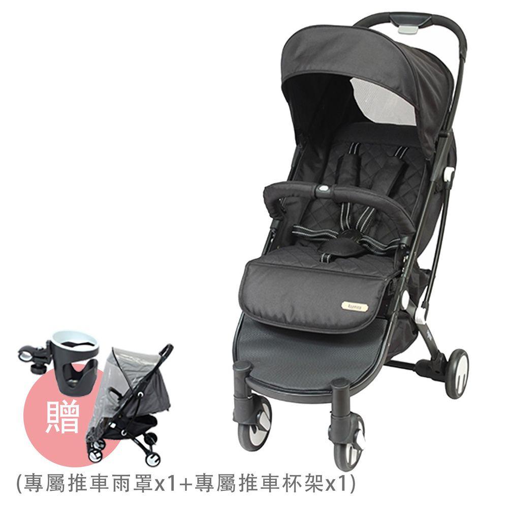 法國 Looping - SquizzⅡ-輕巧行李式嬰幼兒手推車-神秘黑-買送Looping SquizzⅡ專屬推車雨罩 x 1 + 專屬推車水杯架 x 1