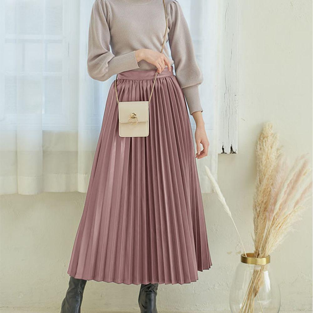 日本 GRL - 光澤皮質百褶長裙-灰粉