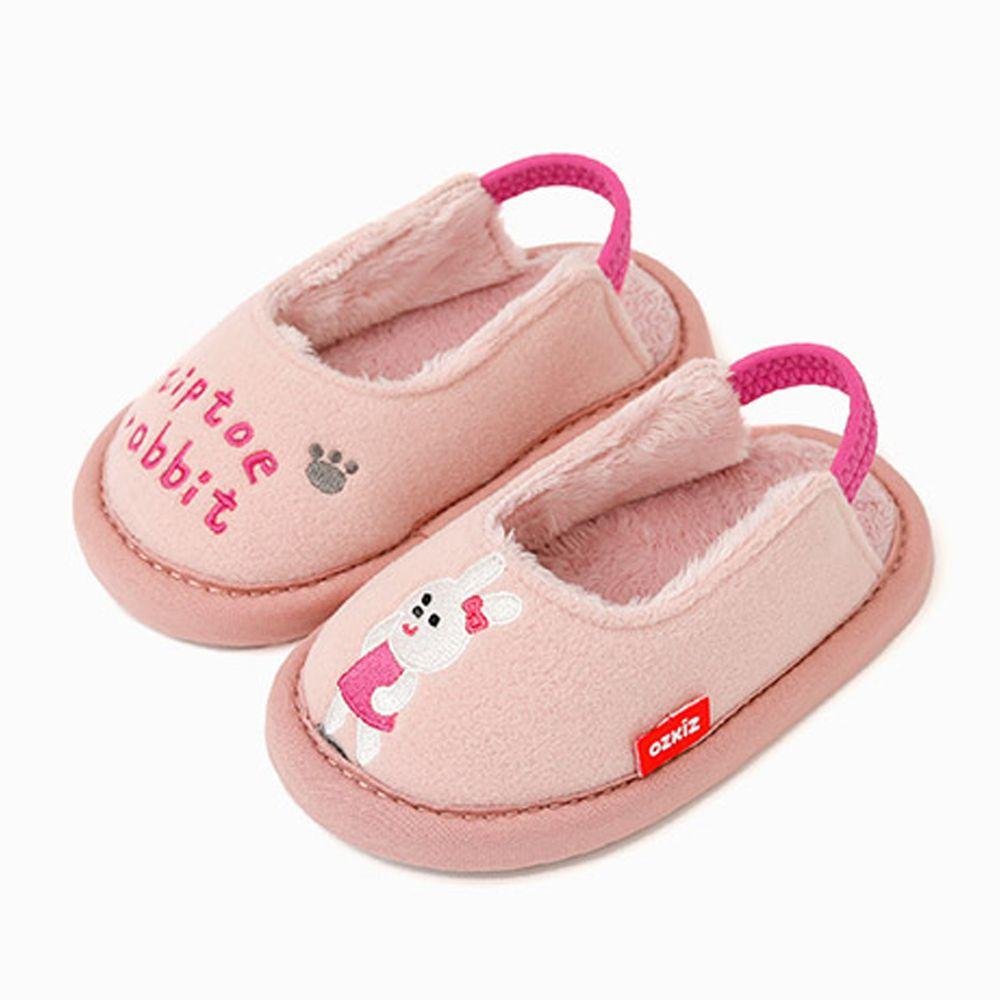 韓國 OZKIZ - 消音防滑室內鞋-內刷毛款(動物)-粉紅