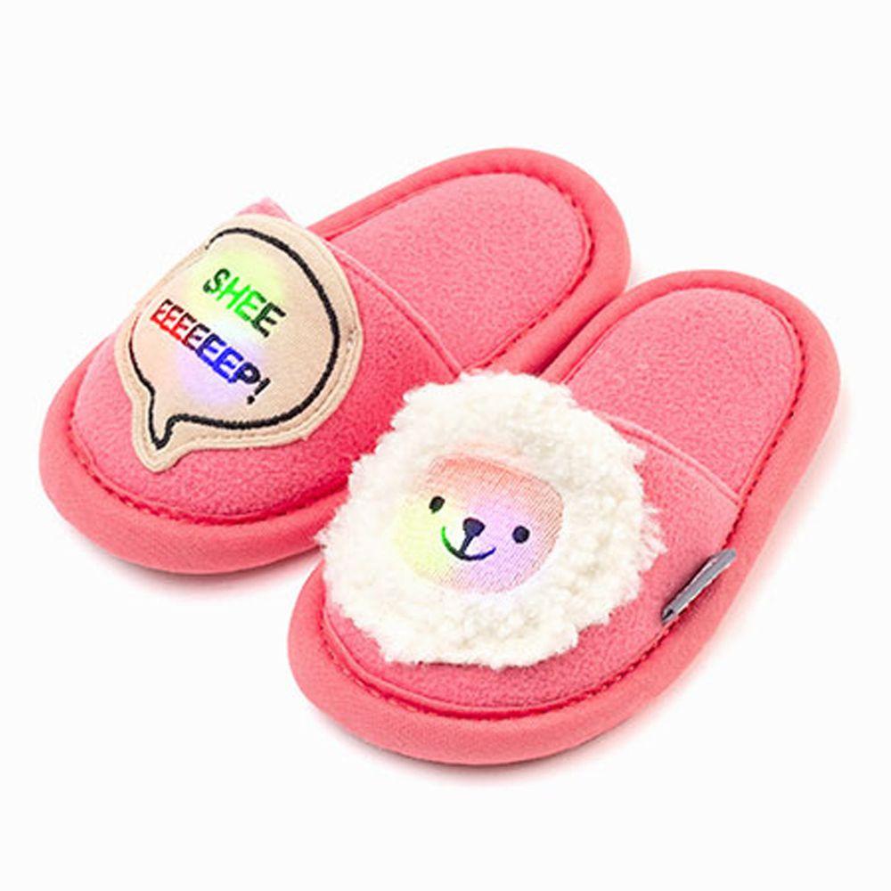 韓國 OZKIZ - 消音防滑室內鞋-LED閃耀動物款-桃粉綿羊