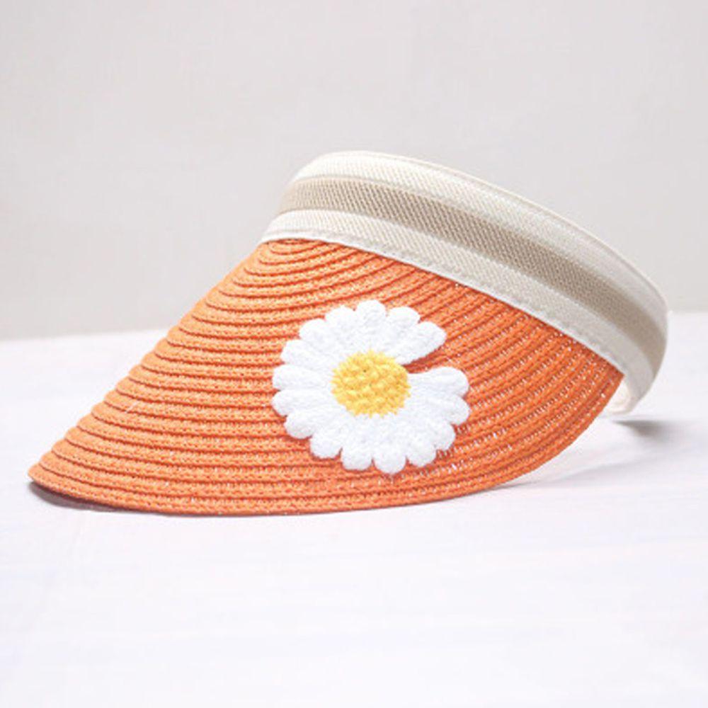 鴨舌遮陽草帽-鮮橙雛菊 (小孩款(46-53cm))