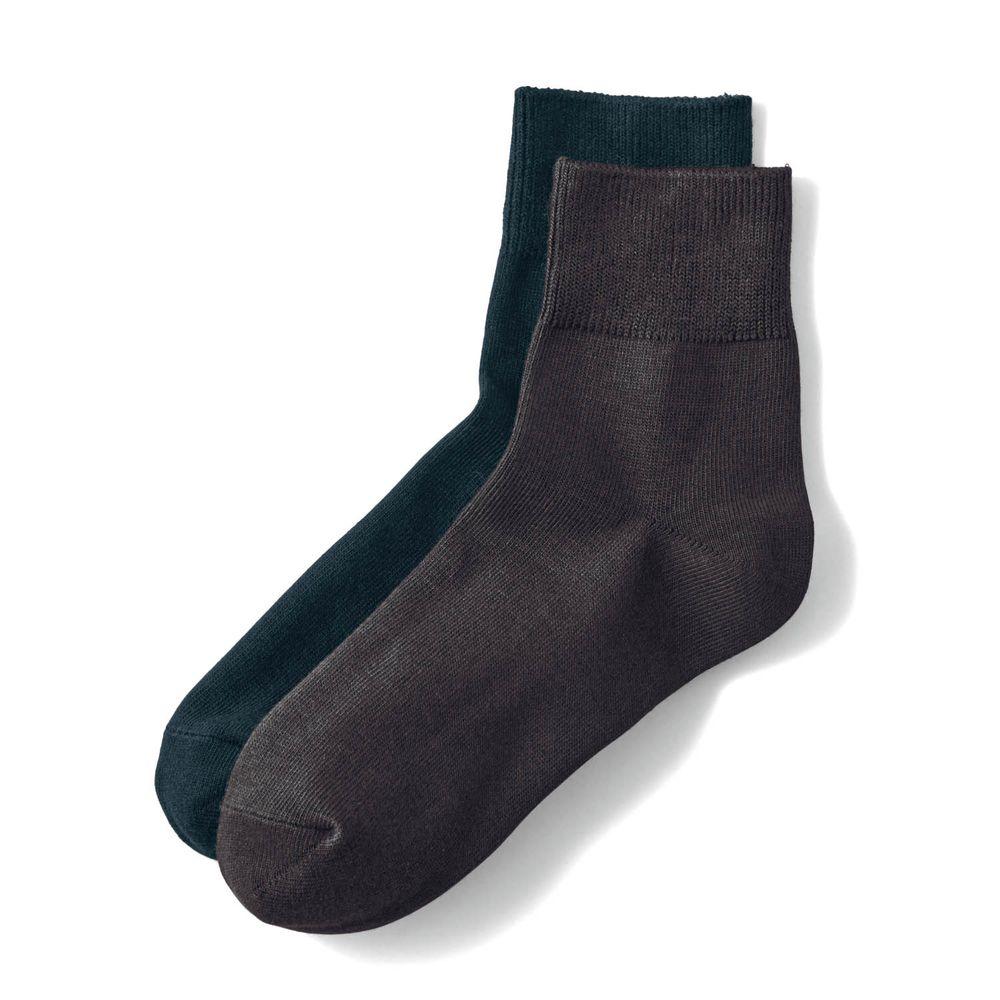 日本千趣會 - 棉混 (媽媽)短筒發熱襪兩件組-深咖啡+黑 (23-25cm)