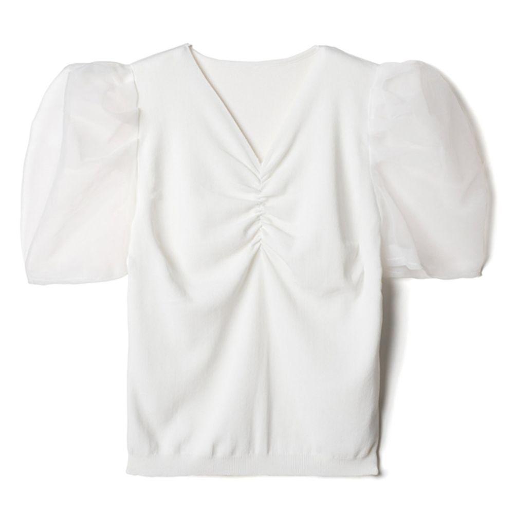 日本 GRL - 浪漫薄紗抓皺V領短袖上衣-天使白 (F)