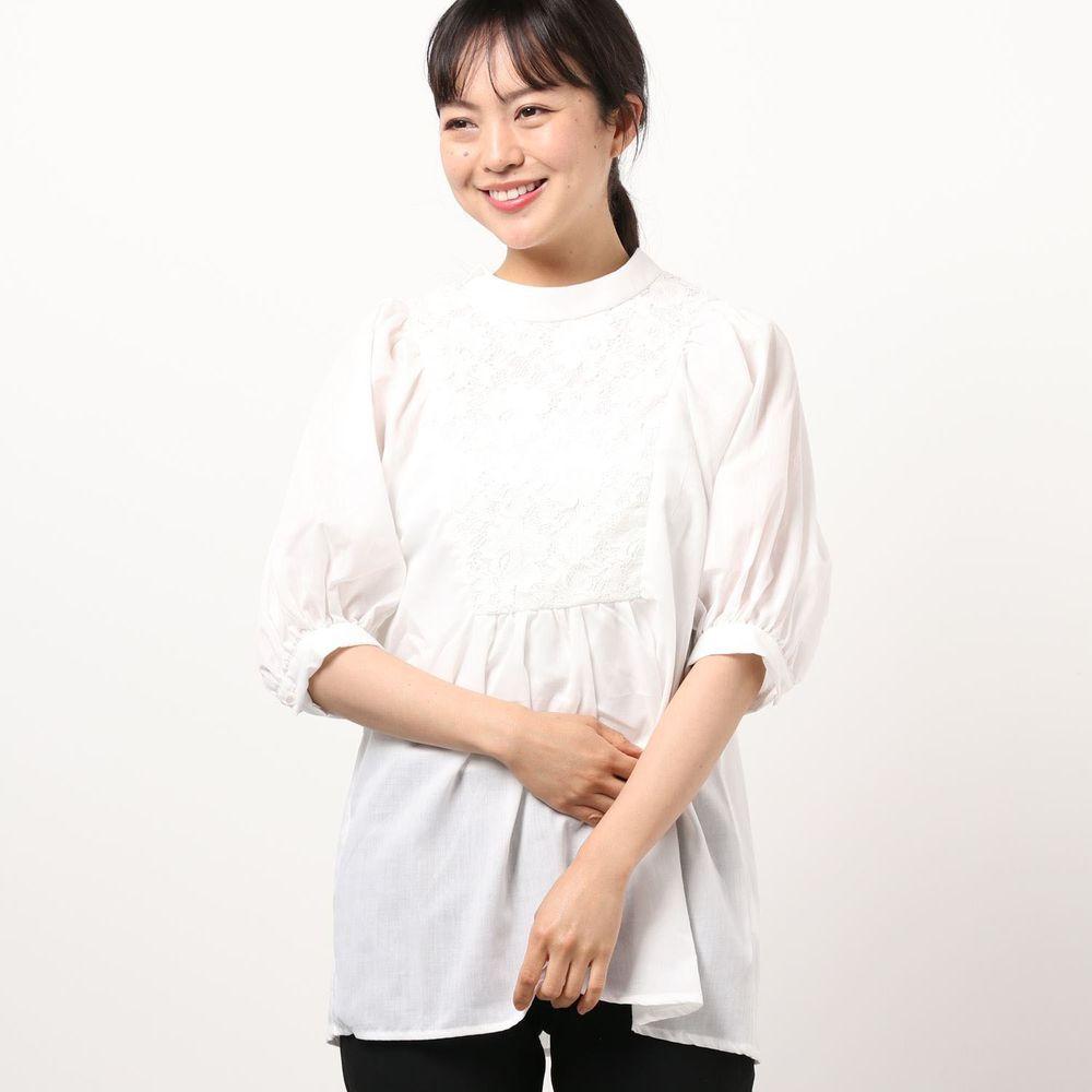 日本 Riche Glamour - 蕾絲拼接雪紡五分袖上衣-白