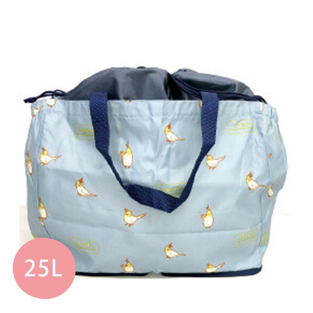 日本 Chepeli - 超大容量保冷購物袋(可套購物籃)-鸚鵡-水藍-25L/耐重15kg