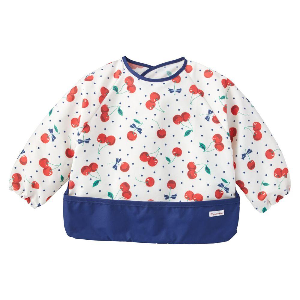 日本 Combi - mini 食事圍兜-長袖款-櫻桃-海軍藍 (L [90-100cm])-12個月起