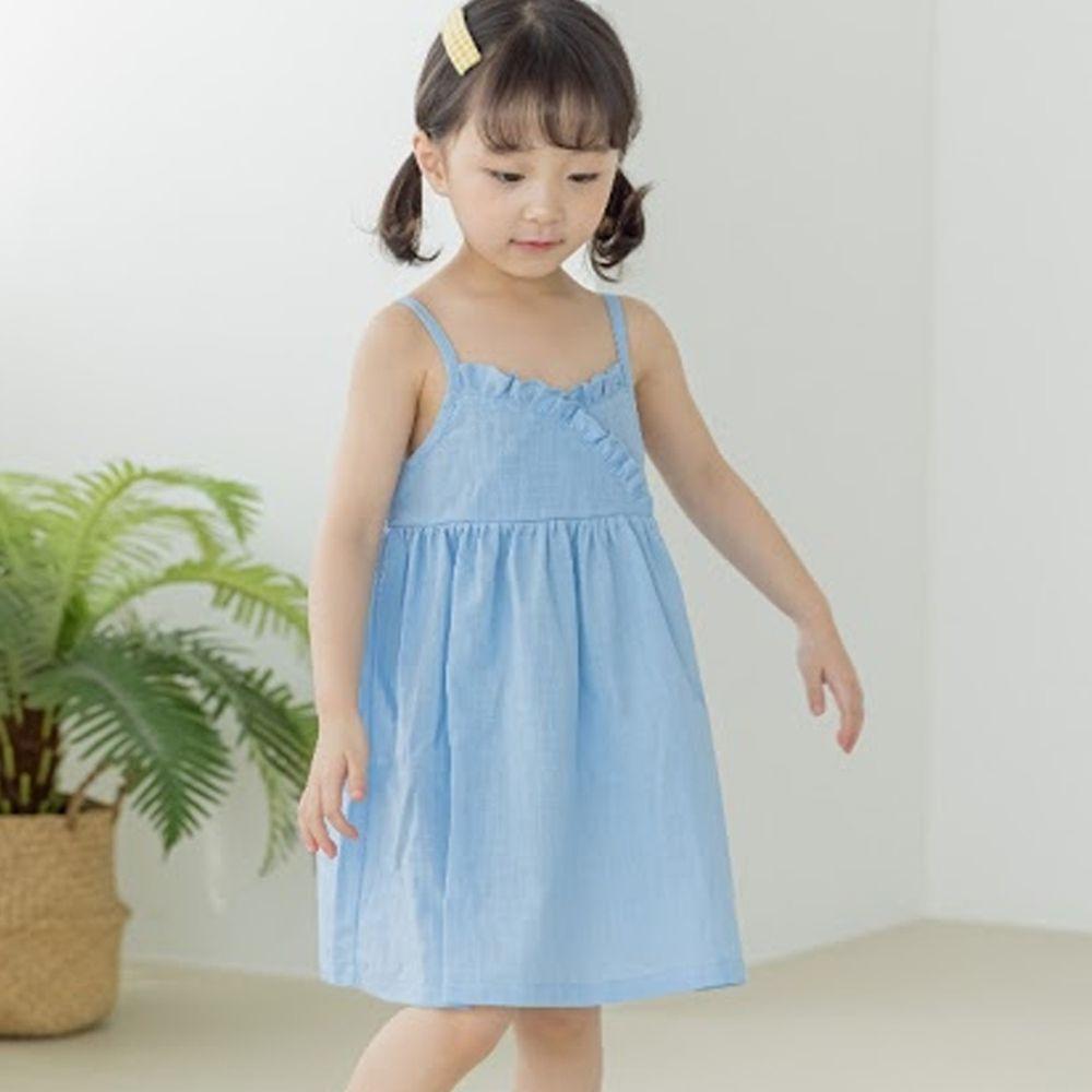 韓國 Orange Mom - 荷葉裝飾細肩帶洋裝-天藍