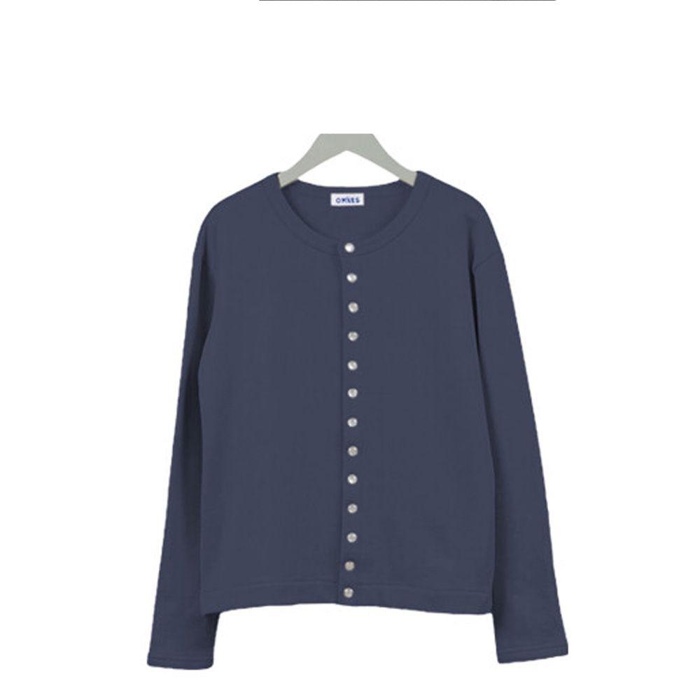日本女裝代購 - 2way珍珠鈕扣裏毛上衣/外套-深藍