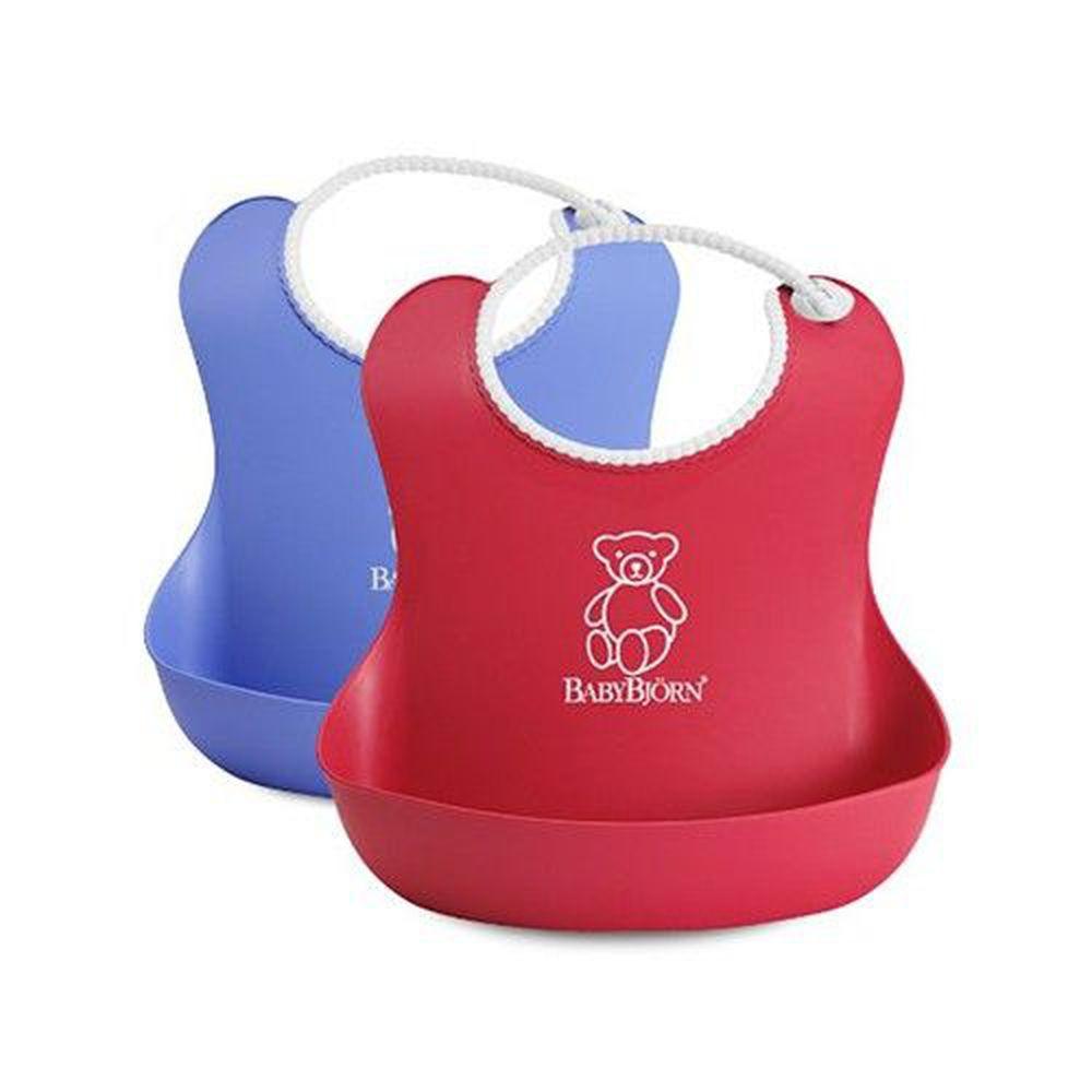 瑞典 Baby Bjorn - 軟膠防碎屑圍兜(2入)-紅色+藍色