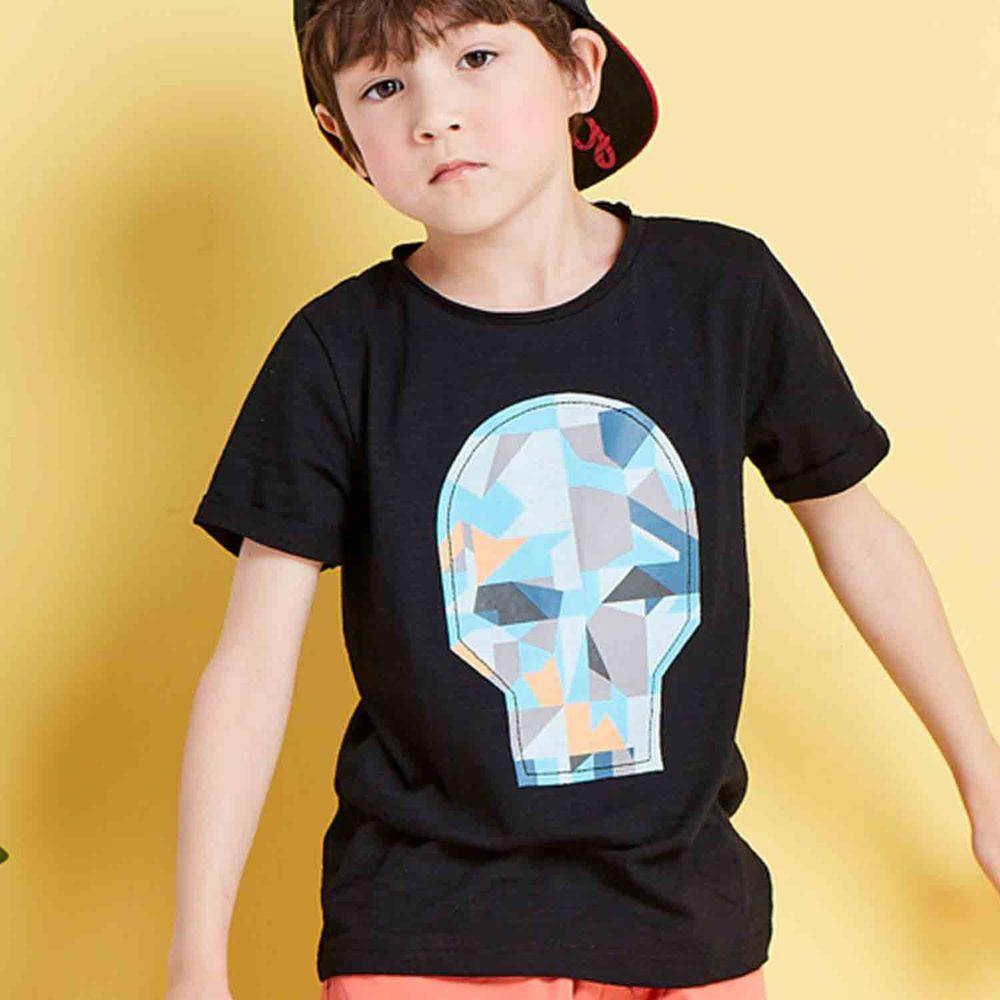 麗嬰房 Little moni - 幾合骷髏頭印圖短袖棉T-黑色