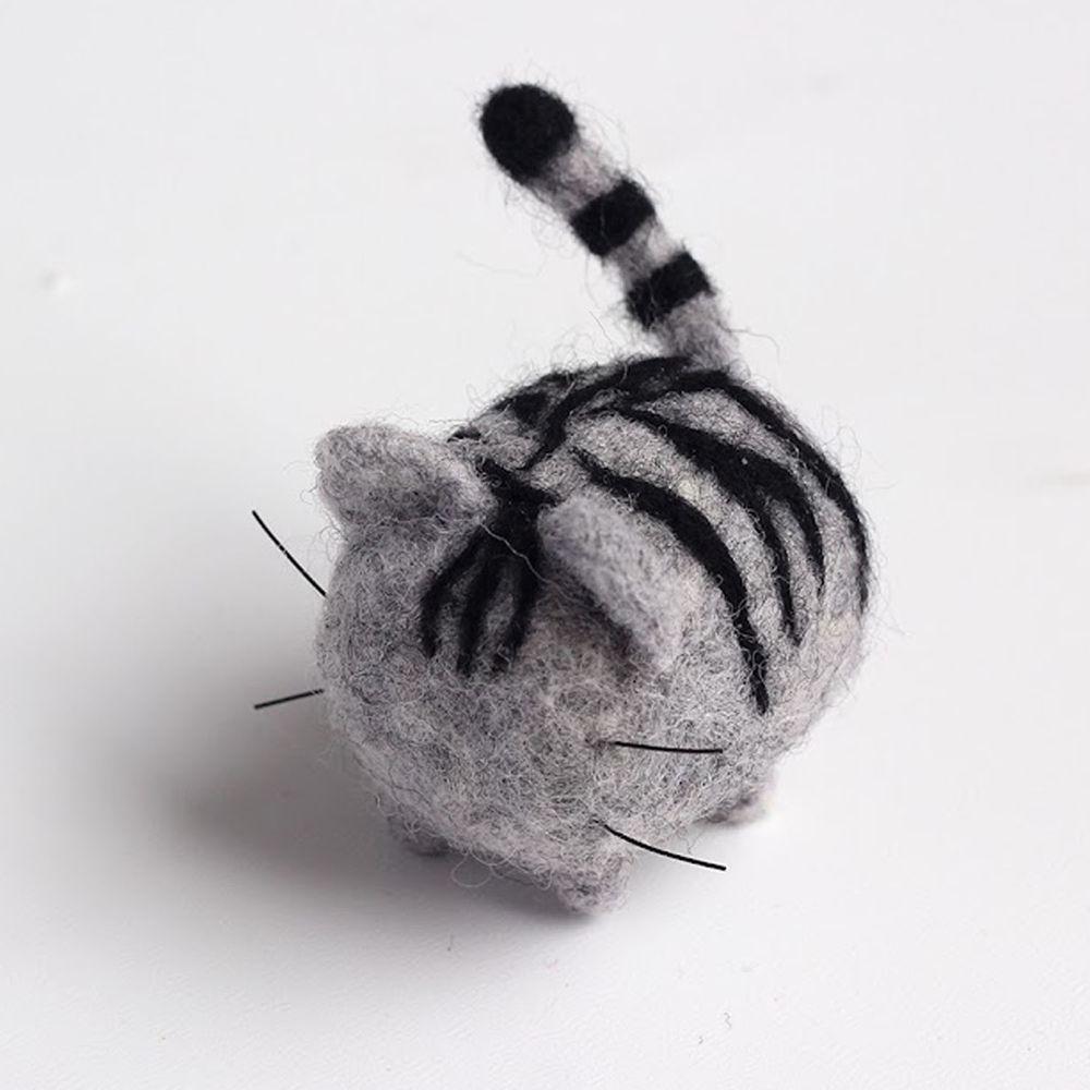 Diy寵物造型羊毛氈戳戳樂材料包-灰色斑點貓咪