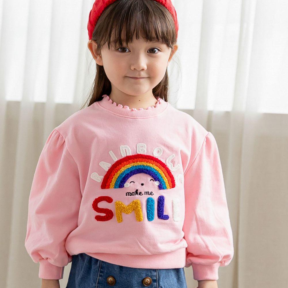 韓國 ERU - 彩虹泡泡袖T-粉紅