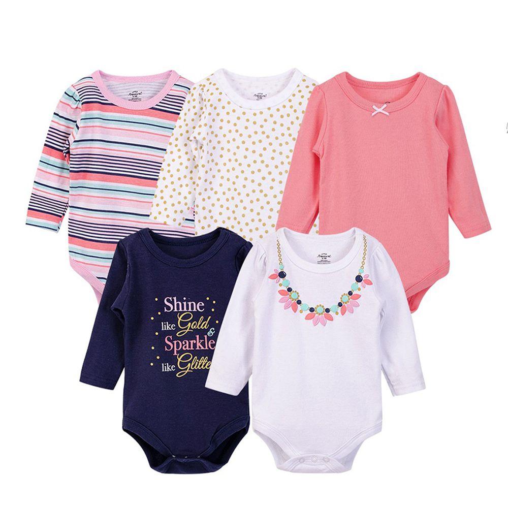 美國 Luvable Friends - 嬰幼兒100%純棉長袖包屁衣5件組-花朵項鍊