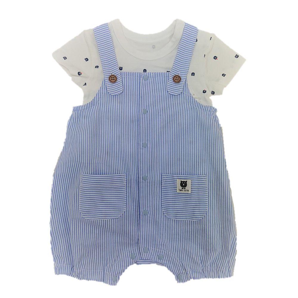 akachan honpo - 吊帶連身衣+短袖T恤-淺藍色
