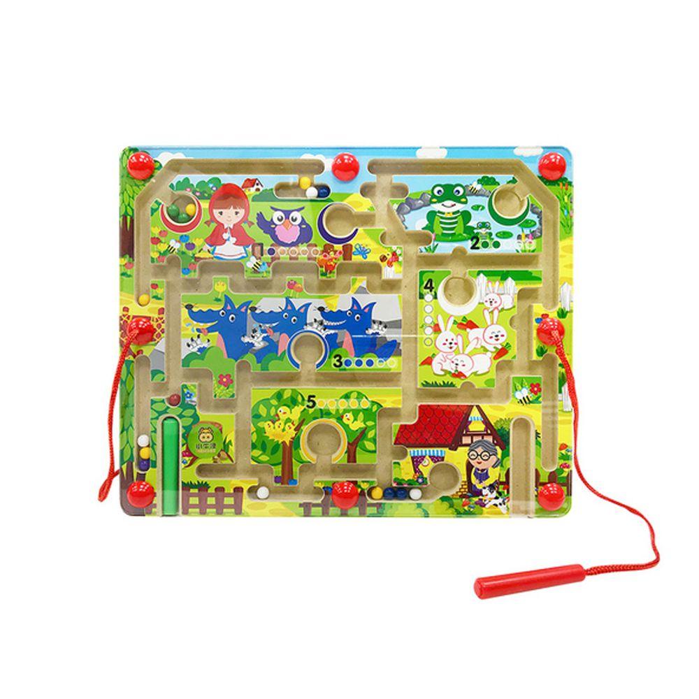 小牛津 - 童話故事運筆迷宮-小紅帽找外婆 (32.8*25.7*4.5cm)-木製故事迷宮基座、雙磁筆