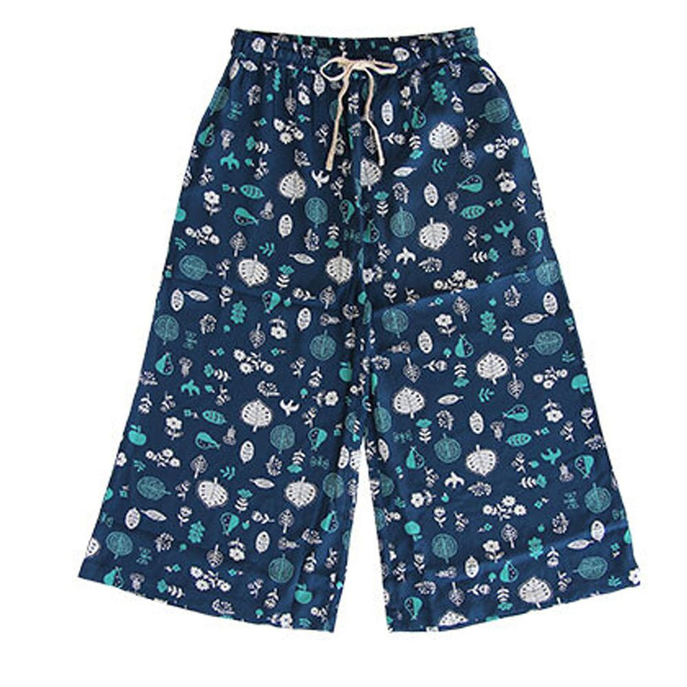 日本女裝代購 - COOL 涼感柔軟舒適家居長褲/睡褲-北歐森林-深藍 (M-L Free)
