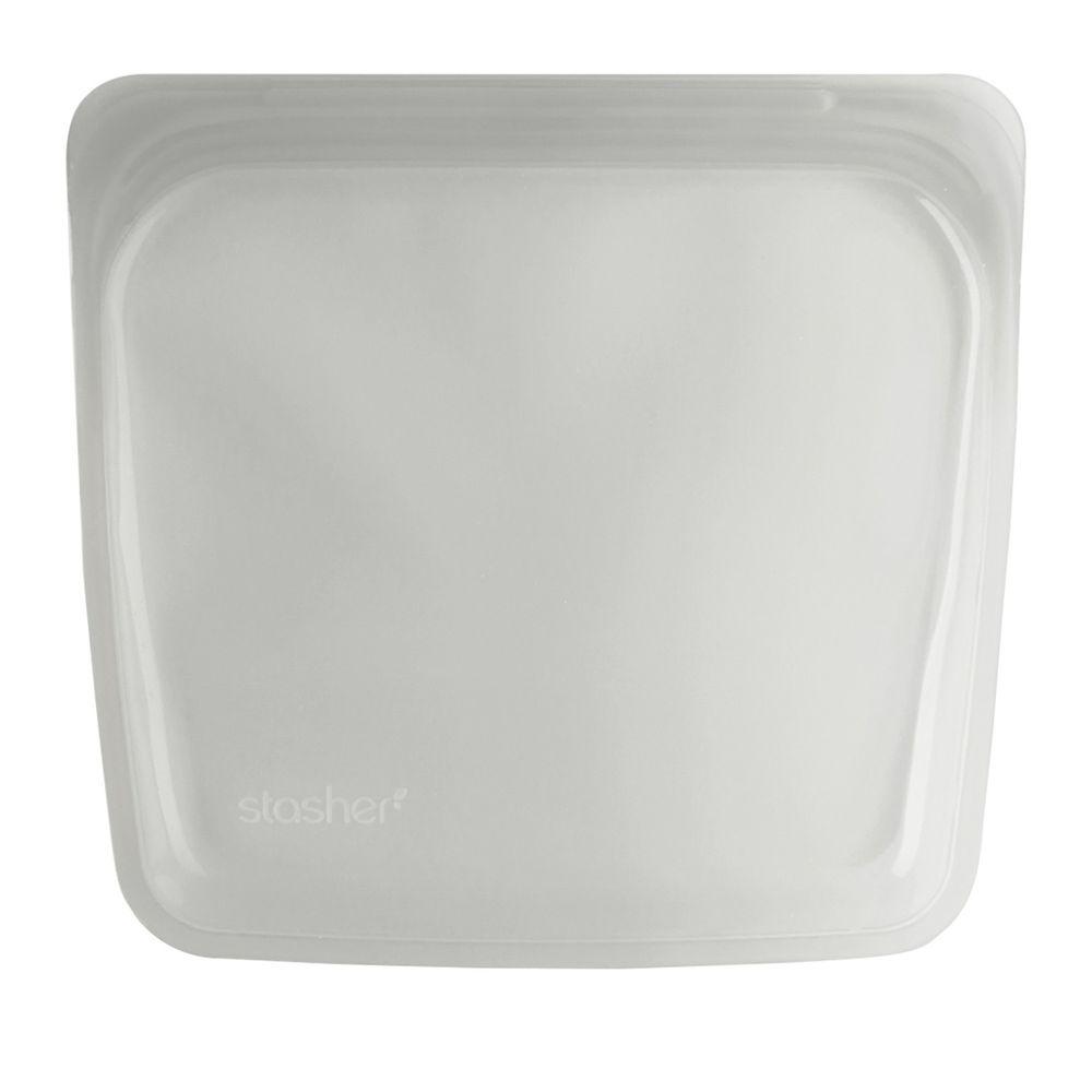 Stasher - 食品級白金矽膠密封食物袋-Sandwich方形-雲霧白 (443ml)