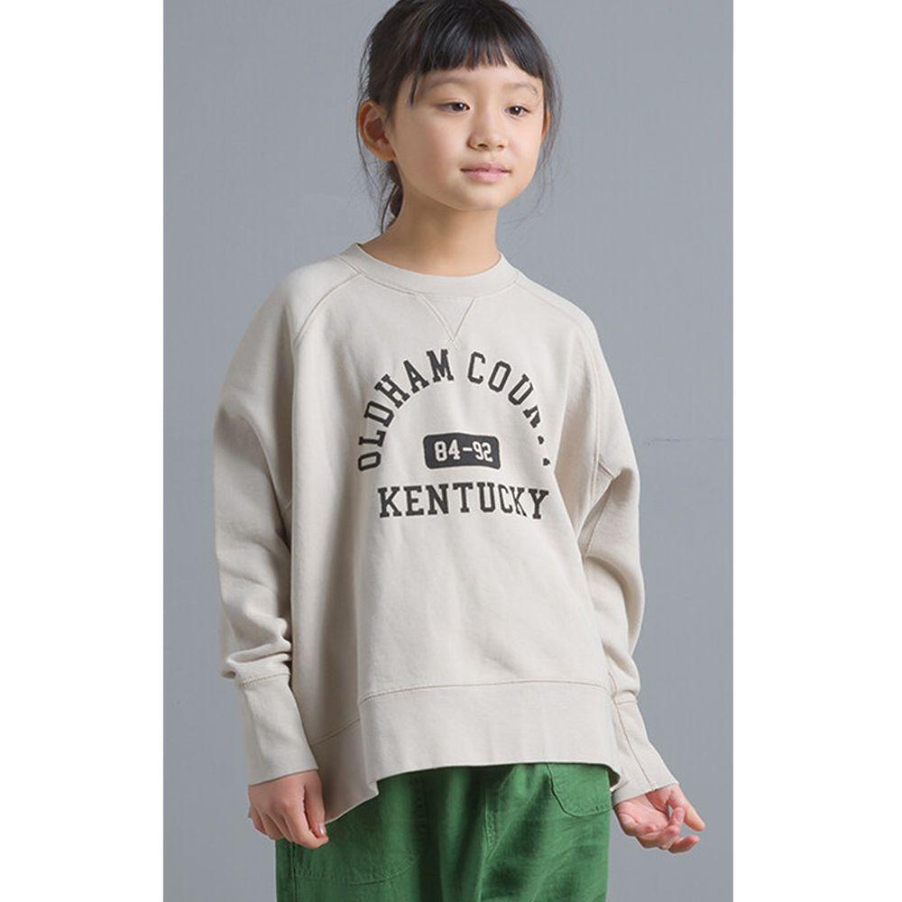 日本女裝代購 - 純棉裏毛美式字母大學T(小孩)-象牙白
