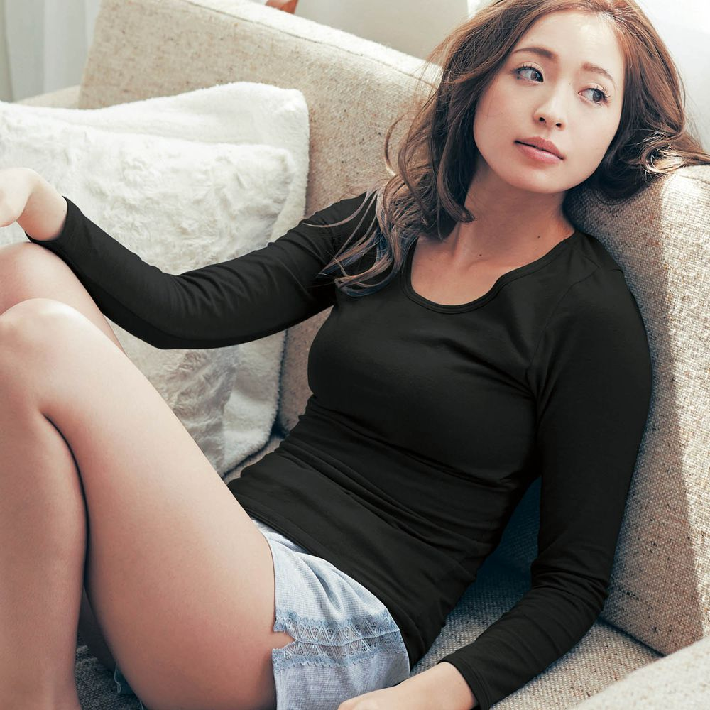 日本千趣會 - 95%棉 (媽媽)圓領附Bra發熱衣-黑色