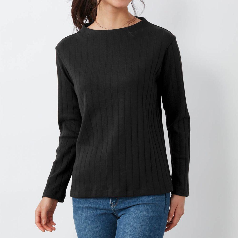 日本千趣會 - 100%棉 直條紋長袖發熱上衣-黑