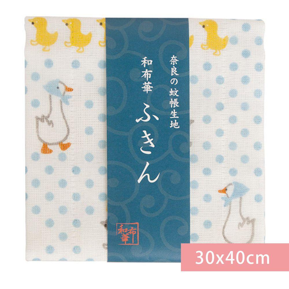 日本代購 - 【和布華】日本製奈良五重紗 方巾-母鴨帶小鴨-水藍點點 (30x40cm)