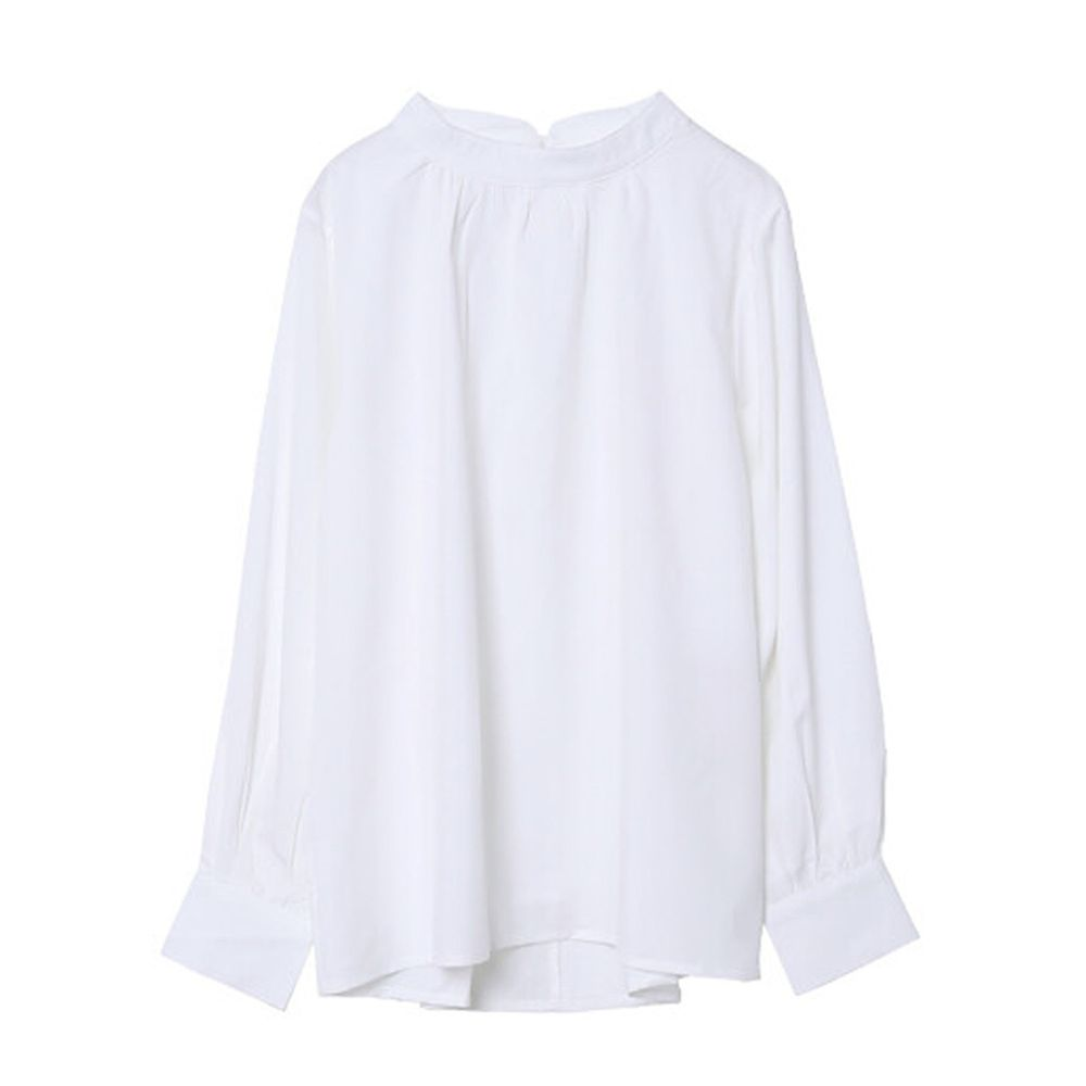 日本女裝代購 - 復古立領燈籠袖長袖上衣-白