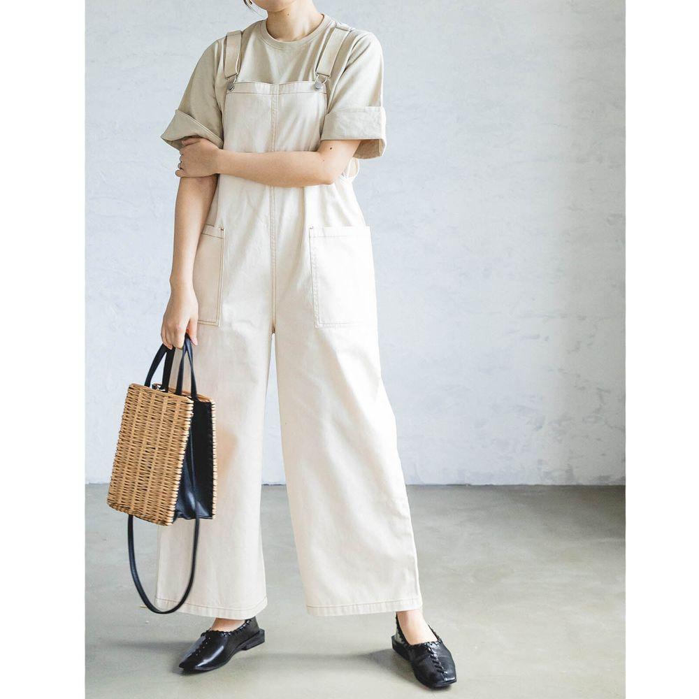 日本 PAIRMANON - 純棉雙口袋吊帶褲(媽媽)-象牙白 (FREE)