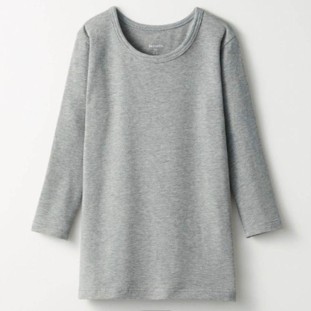 日本千趣會 - 95%棉 (兒童)圓領九分袖發熱衣-雜灰