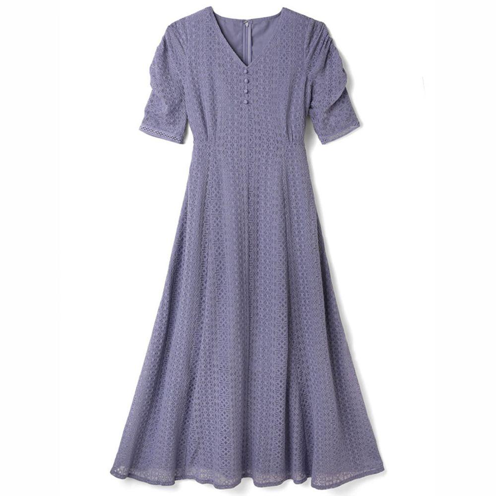 日本 GRL - 明星聯名款 復古蕾絲雕花短袖洋裝-灰紫藍