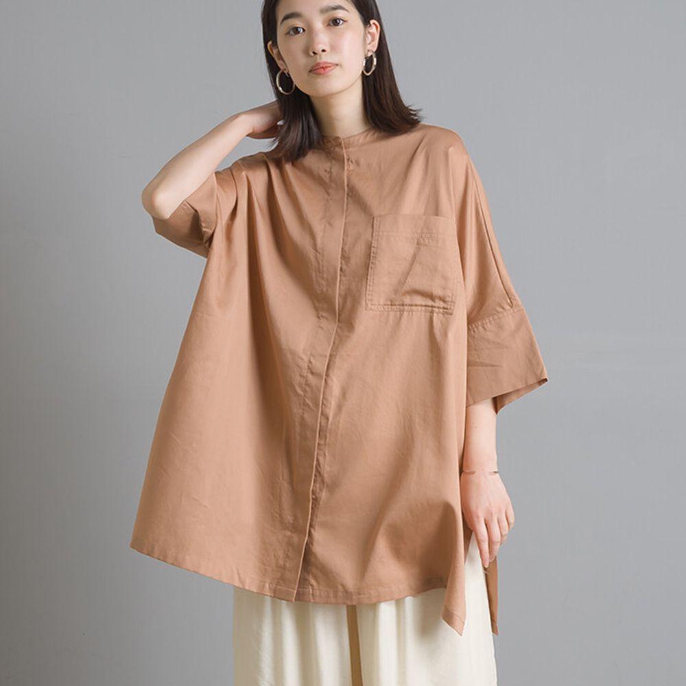 日本 OMNES - 高品質棉緞中山領五分袖上衣-杏 (Free size)