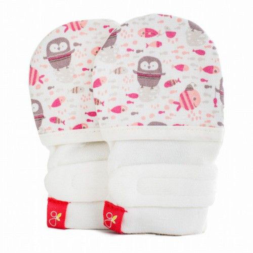 美國 GOUMIKIDS - 有機棉嬰兒手套-企鵝-粉色