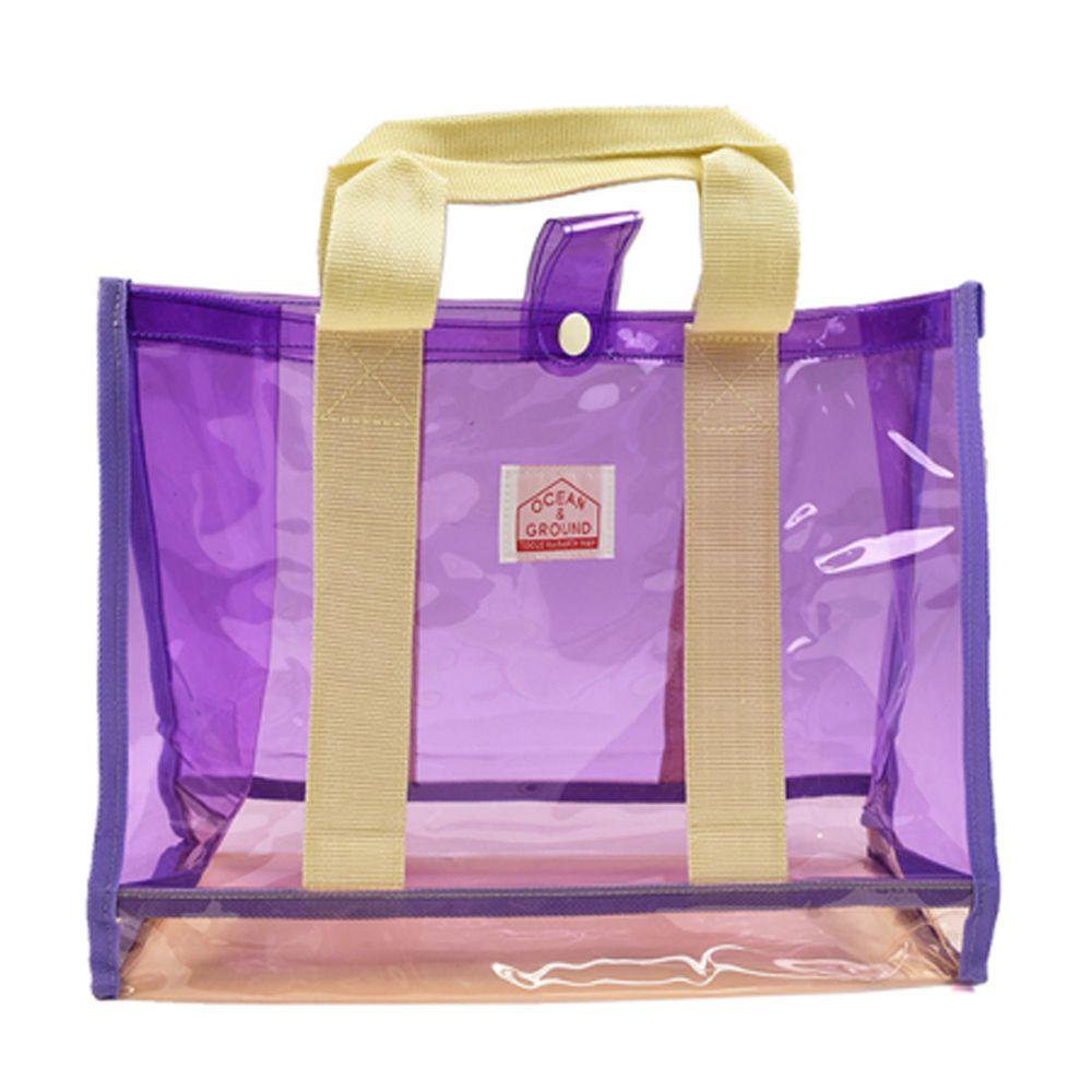 日本 OCEAN&GROUND - 透明PVC防水手提袋-紫 (26.5x34x13.5cm)