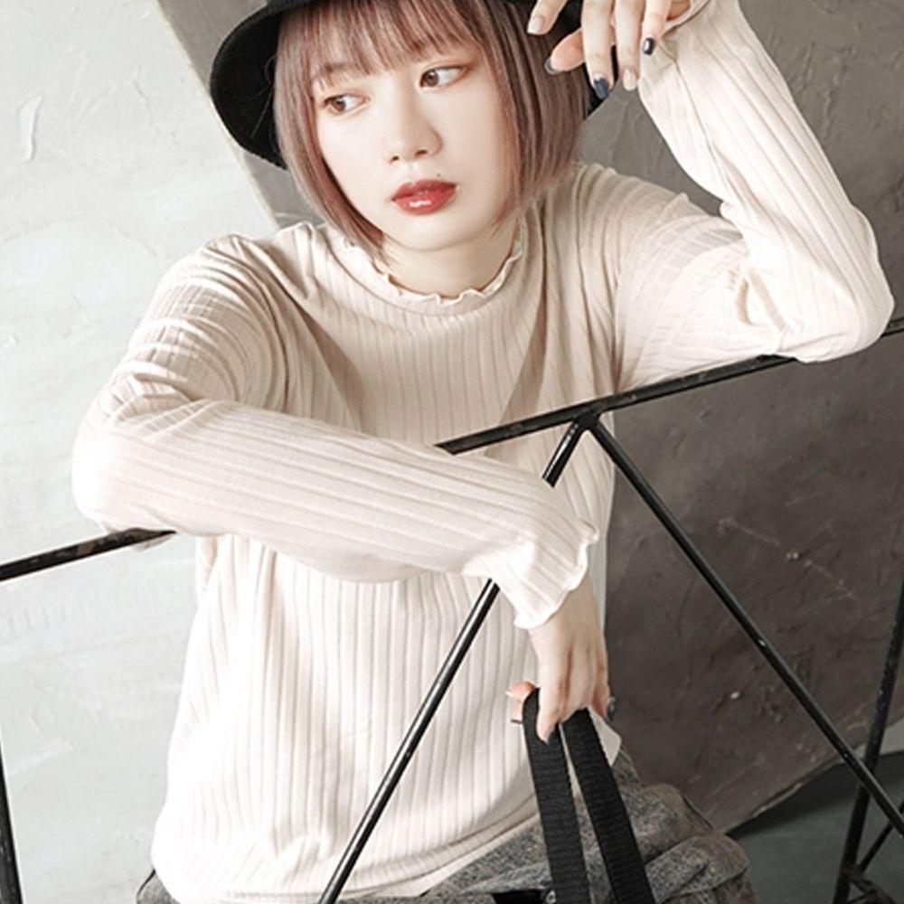 日本 zootie - 時尚木耳邊羅紋貼身上衣-象牙白