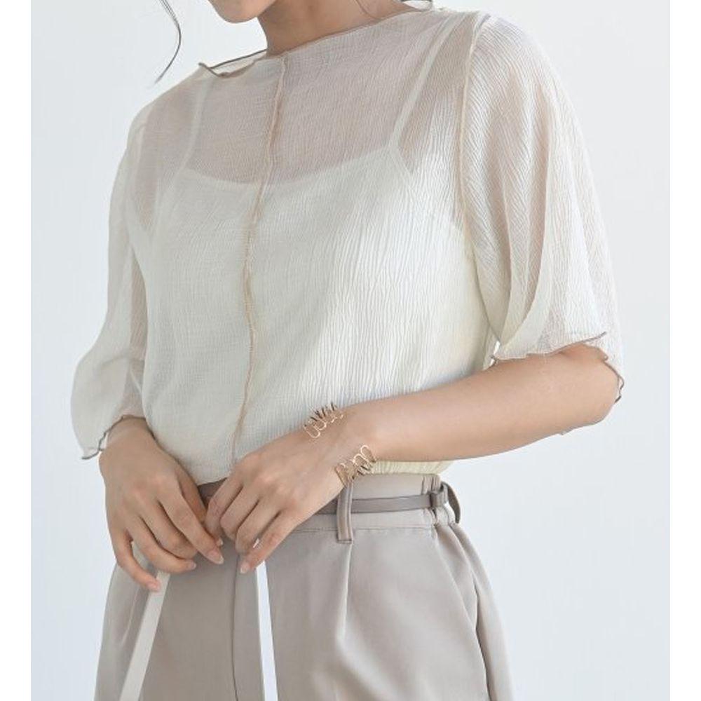 日本 ELENCARE DUE - 楊柳風微透膚五分袖上衣X背心套裝-杏