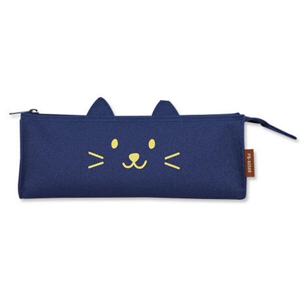 珠友 - 立體三角筆袋/文具收納袋-微笑貓咪-03深藍