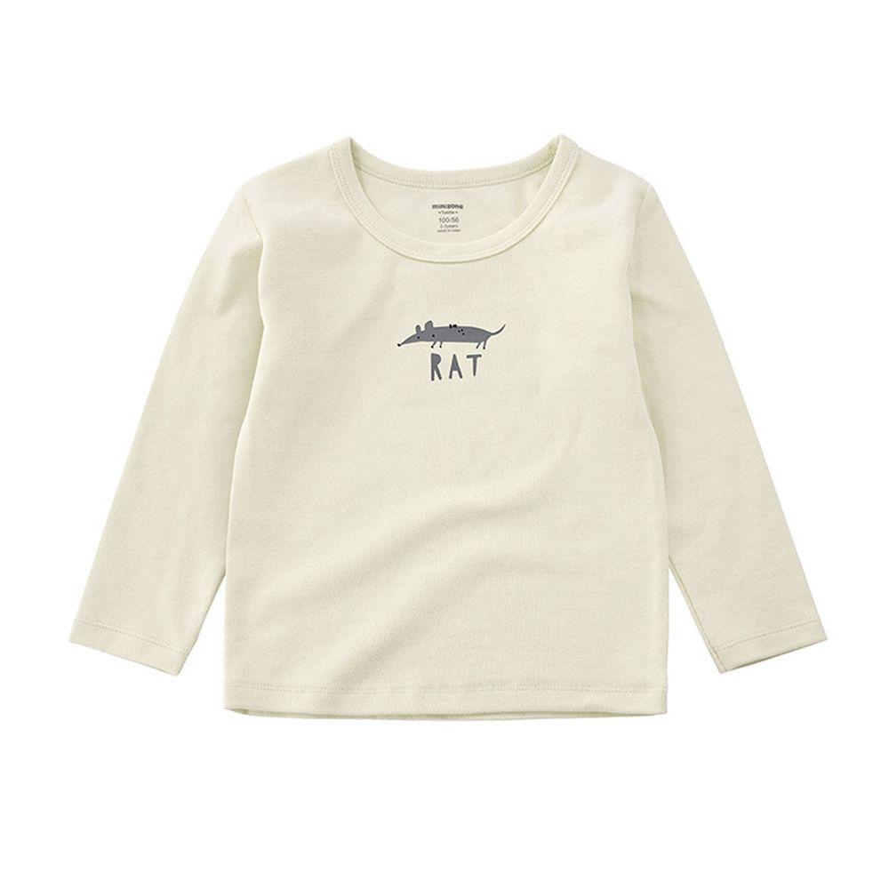 Minizone - 可愛動物長袖T恤-米白
