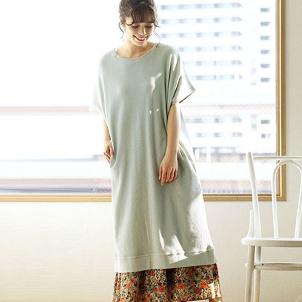 日本 zootie - 純棉 顯瘦鬆餅紋五分袖洋裝-薄荷 (Free)