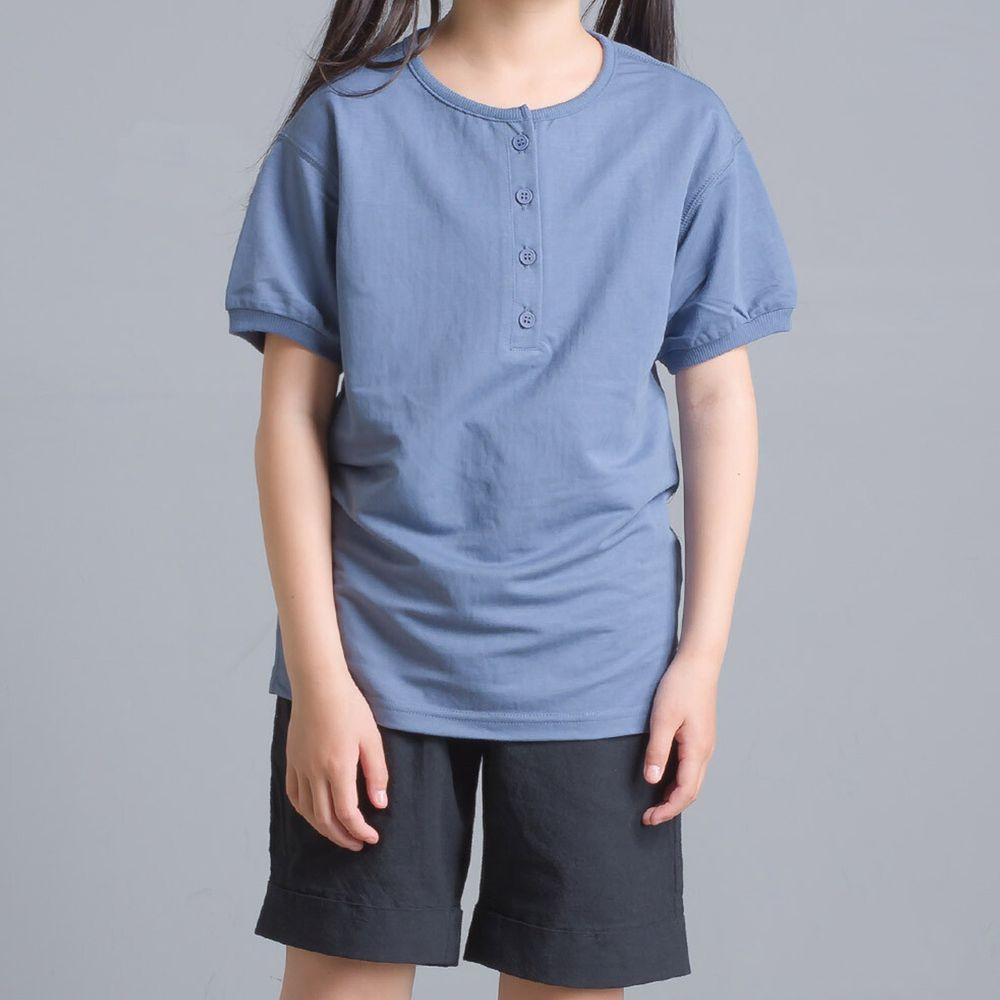 日本 OMNES - 接觸冷感 排釦圓領短T(兒童)-藍