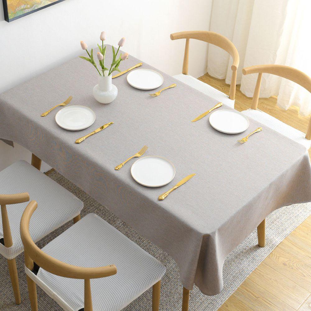 棉麻防水防髒桌布-灰色