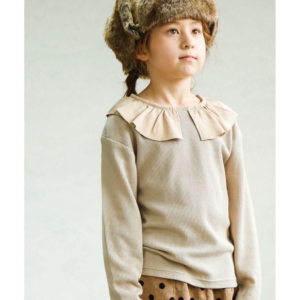 日本 PAIRMANON - 撞色荷葉領設計鬆餅紋長袖上衣-杏X灰杏