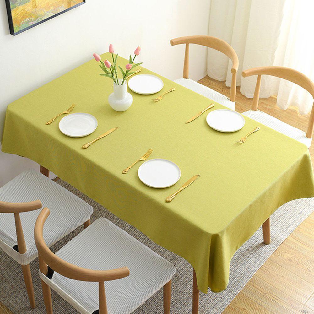 棉麻防水防髒桌布-黃綠色