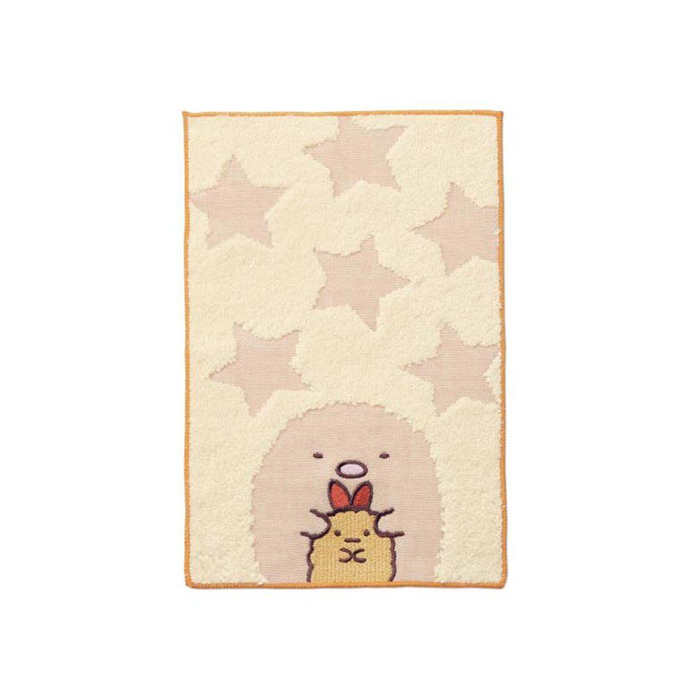 日本千趣會 - 角落生物 質感雙材質毛巾手帕-炸豬排與炸蝦-褐 (15x24cm)