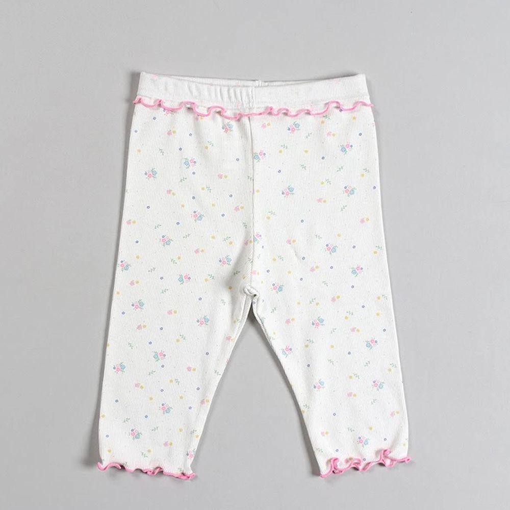 韓國 Dalla - 捲邊點點碎花5分內搭褲-白