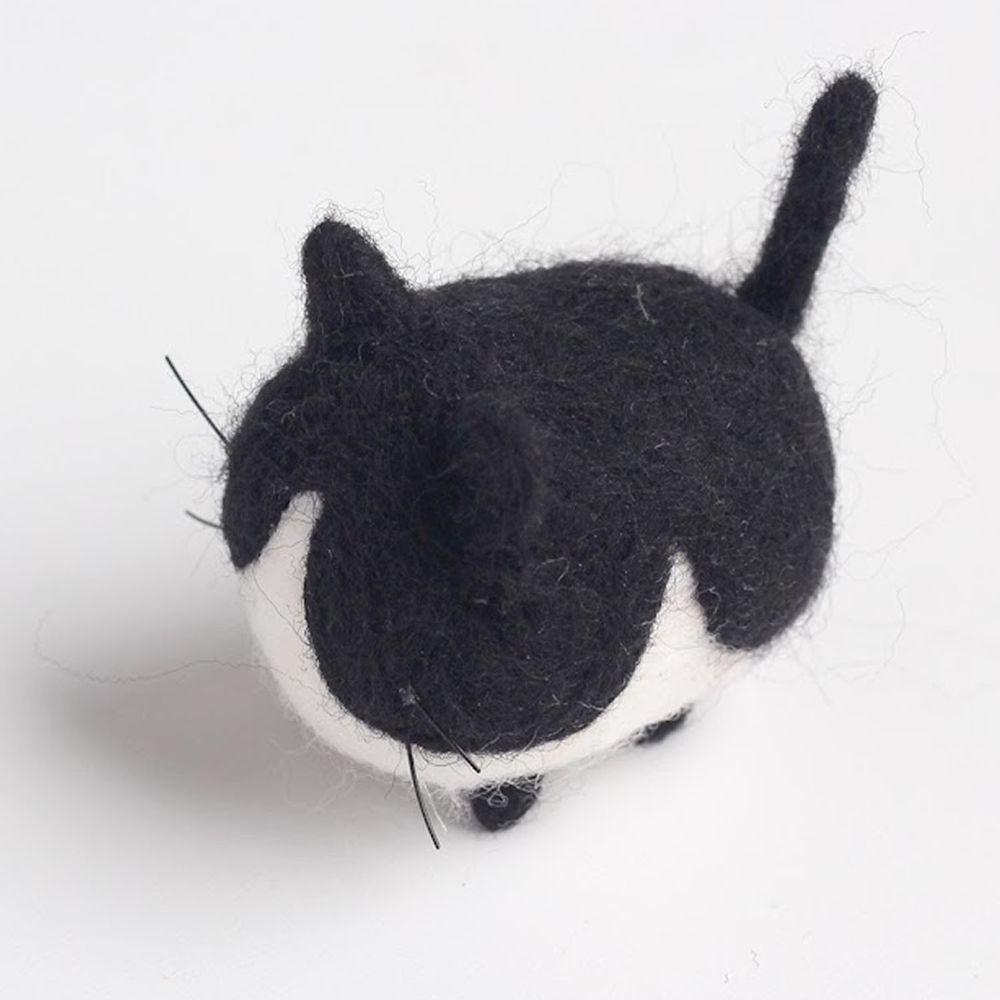 Diy寵物造型羊毛氈戳戳樂材料包-黑白乳牛貓咪
