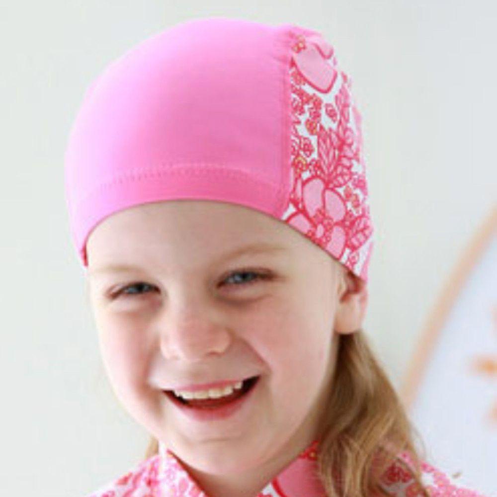 韓國 Beach Boom - 兒童泳帽-粉紅花朵